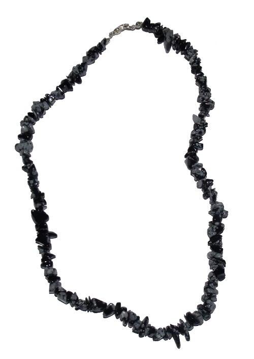 collier obsidienne niege baroque