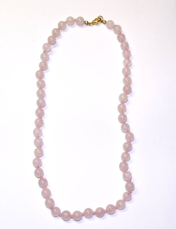 collier quartz rose boules