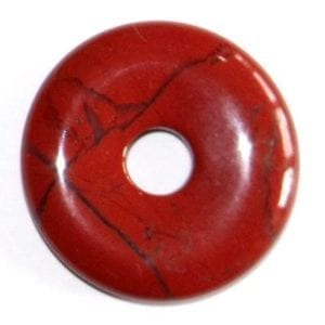 pendentif donut pi chinois jaspe rouge