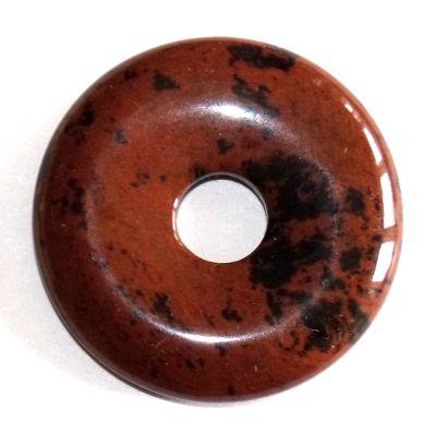 pendentif donut pi chinois obsidienne acajou