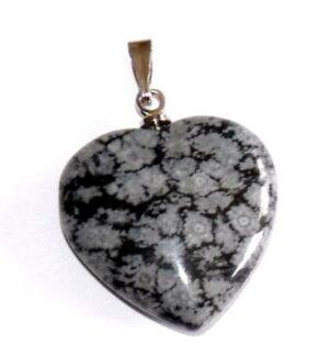 pendentif coeur obsidienne neige