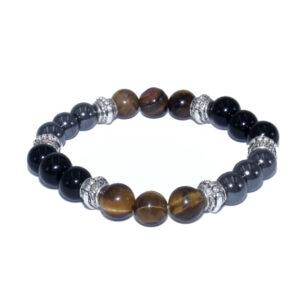 bracelet 3 pierres de protection oeil de tigre obsidienne hématite