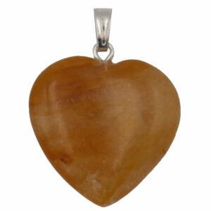 pendentid coeur en pierre de citrine
