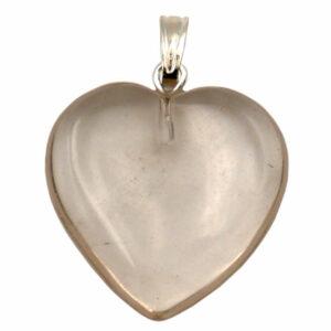 pendentif coeur en pierre de quartz fumé