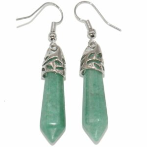 boucles d'oreilles en aventurine verte pierre taillée en pointe