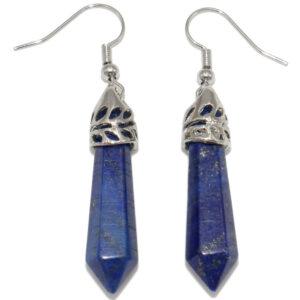 boucles d'oreilles en lapis lazuli pierre taillée en pointe